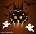 Haunted house halloween background with scary ghosts festive poster or postcard Stock Photos