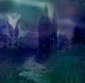 Haunted house halloween night background Stock Photography