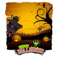 Haunted house in halloween night illustration of abandoned Royalty Free Stock Photo