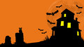 Haunted house hill on a silhouetted by full moon with an owl bats and tombstones in the foreground open sky area for text or Royalty Free Stock Image