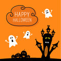 Haunted house, pumpkins and ghost. Cloud in the Royalty Free Stock Photo