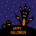 Haunted house and pumpkins. Starry night. Hallowee Royalty Free Stock Photo