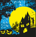 haunted house, pumpkins and witch Royalty Free Stock Photo