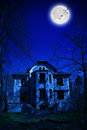 Haunted house view of the old abandoned at night Stock Photo