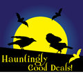 Hauntingly good deals words or text with crows or ravens advertisement starter Royalty Free Stock Image