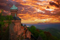 Haut koenigsbourg castle alsace france sunset over medieval is the famous of the rhine valley in on which the bruche valley Royalty Free Stock Photography