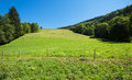 Haute savoie garden hill and electric fence usoed to protect land from animals Royalty Free Stock Image