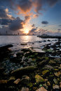 Havana bay entrance at sunset and city skyline with big clouds Stock Photos