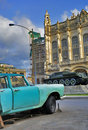 Havana car and revolution palace Royalty Free Stock Photos
