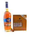 Havana Club rum and Cohiba cigars Royalty Free Stock Photo