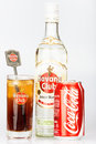 Havana club rum and coke next to a cuba libre bottle can coktail established in in is the world s no brand Royalty Free Stock Photography