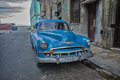 HAVANA, CUBA - 4 DEC, 2015. Blue vintage classic American car Royalty Free Stock Photo