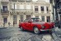HAVANA, CUBA - 5 OCT, 2008. Red vintage classic American car, co Royalty Free Stock Photo