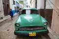 Havana old american classic car yank tank along the street at the city cuba with the famous bar la bodeguita del medio in the Stock Photography