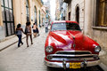 Havana street cuba a scene with pedestrians and antique car Royalty Free Stock Image