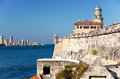Havana view of the old city through a bay from morro s fortress city landscape in a sunny day panorama Stock Images