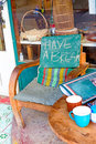 Have a break text on wooden chair Royalty Free Stock Photography