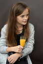 Have a break young photographer has drinking orange juice Royalty Free Stock Photos