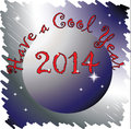 Have a cool year new illustration in cold colors with circle and the message Royalty Free Stock Photos