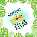 Have Fun and Relax Label, Tropical Leaves Framing