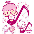 Have happy singing cherub mascot angel character design series Royalty Free Stock Image