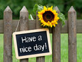 Have a nice day sign on chalkboard hung from garden fence next to sunflower Royalty Free Stock Photo