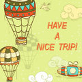 Have a nice trip card postcard with parachute house flying objects hand drawn illustration Stock Images
