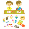 Have a snack kids on the table little boy and girl Royalty Free Stock Image