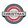 Have a wonderful christmas vintage badge vector illustration Royalty Free Stock Images