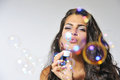 Having fun with bubble solution Royalty Free Stock Photo