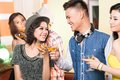 Having fun together young party people Stock Photography