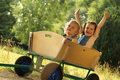 Having fun in a wagon Royalty Free Stock Photo