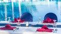 Having special menu beside ocean blue water pool Royalty Free Stock Photo
