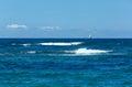 Havssommarsikt från stranden grekland lefkada det ionian havet Royaltyfri Bild