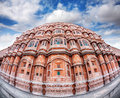 Hawa mahal in rajasthan facade with many windows and balconies at blue sky jaipur india Stock Images