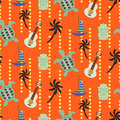 Hawaii beach orange seamless vector pattern. Royalty Free Stock Photo