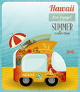 Hawaii card bus on the beach illustration Stock Photos