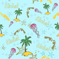 Hawaii cocktail seamless pattern blue color