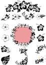 Hawaii floral design black 'n white Royalty Free Stock Photo