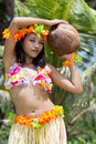 Hawaii hula dancer with coconut Royalty Free Stock Images
