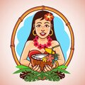 Hawaii Hula Girl Carrying Coconut Cocktail Mascot Logo