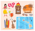 Hawaii icon set vector collection of Royalty Free Stock Image