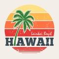 Hawaii Lanikai beach tee print with palm tree