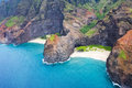 Hawaii napoli coast an aerial view of the na pali s jutting cliffs at honopu valley during a helicopter tour of the Stock Images