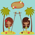 Hawaii poster with hula dancers and palm trees hawaiian near signboard Stock Photos