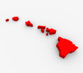 Hawaii Red Abstract 3D State Map United States America Royalty Free Stock Photo
