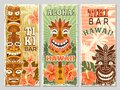 Hawaii retro banners. Aloha tourism summer adventure dancing party in tiki bar tribal masks vector illustrations