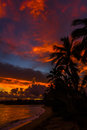 Hawaii sunrise north shore oahu with vivid colors Stock Image