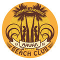 Hawaii surfer sign abstract club Stock Image