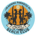 Hawaii surfer sign abstract club Royalty Free Stock Image